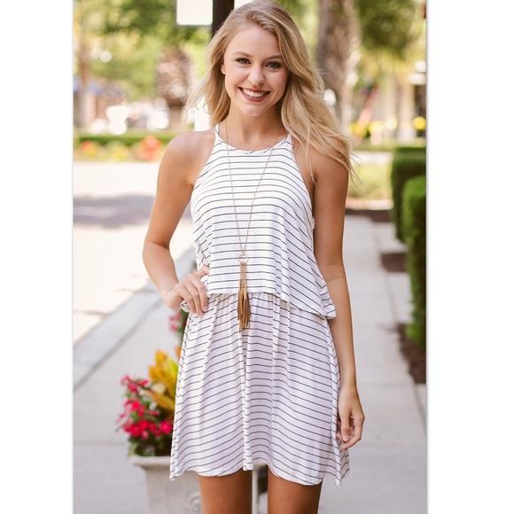 Karlie Dresses & Skirts - Karlie Ivory Black Striped Layered Halter Dress M